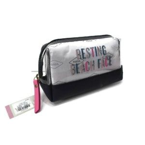 Fossil Bailey Cosmetic Case Bag Clear Zip Closure
